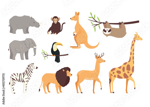 Fototapeta premium bundle of ten animals wild set icons vector illustration design