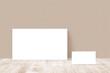 Leinwandbild Motiv stationery mockup blank horizontal greeting card standing