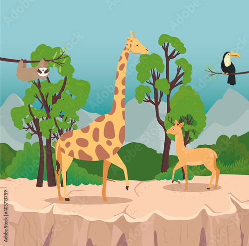 Fototapeta premium group of four animals wild in the savannah scene vector illustration design