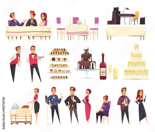 Obraz na plátně Banquet Cartoon Icons Set