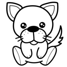 Cute Little Chihuahua Dog Line Art