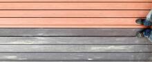 Outdoor Plastic Composite Wood-plastic Floor, River Embankment, Brown