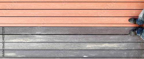 Photo Outdoor plastic composite wood-plastic floor, river embankment, brown