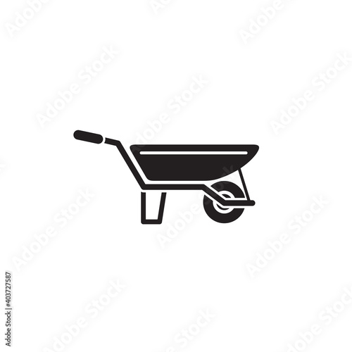 Canvas Print wheel barrow icon symbol sign vector