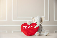 Valentine's Day, Cute Stuffed Elephant  Holding Heart,