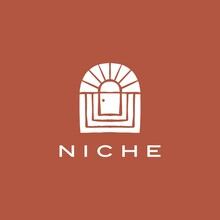 Boho Niche Door French Curve Logo Vector Icon Illustration