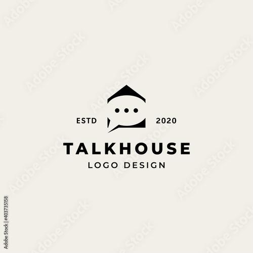 Fotografie, Obraz Talk house logo with chat symbol in negative space