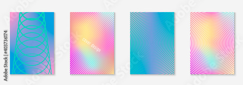 Fototapeta Line geometric elements. Simple notebook, booklet, annual report, patent mockup. Holographic. Line geometric elements on minimalist trendy cover template. obraz
