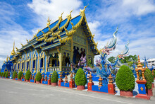 Ubosot Of Buddhist Temple Of Wat Rong Sear Tean (Blue Temple) Close-up Sunny Day. Chiang Rai, Thailand