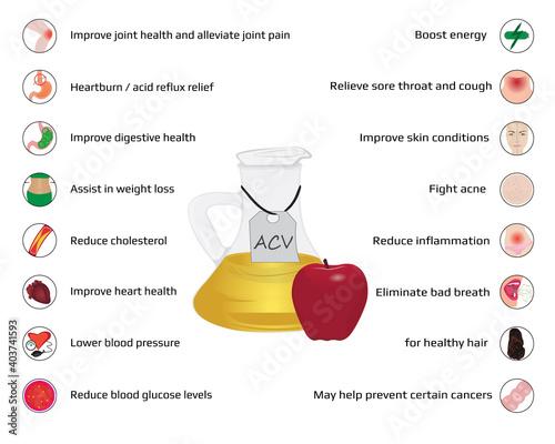 Valokuvatapetti ACV benefits of cider vinegar consumption infographics
