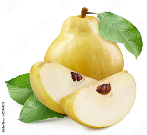Fototapeta Quince with a leaf exotic fruit isolated on white background