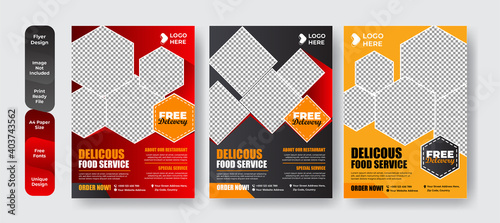 Set of restaurant menu and flyer design templates modern with colorful size A4 size. Vector illustrations for food and drink marketing material, ads, templates, cover design.