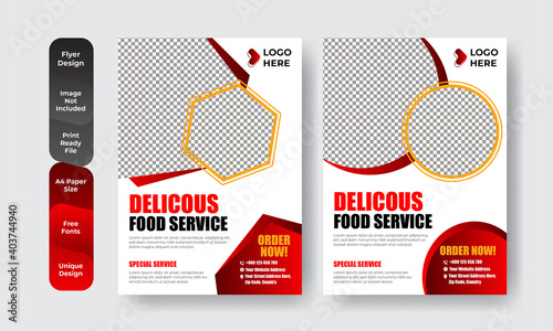 Obraz na plátně Set of restaurant menu and flyer design templates modern with colorful size A4 size