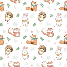 Seamless Pattern With Cute Animal Illustration Design On White Background