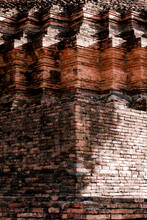 Old Brick Wall Background. Ancient Thailand Temple Building.