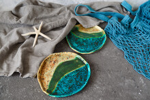 Clay Plates,  Bowls In Wabi Sabi Style. Handmade Ceramic Dishes. Clay Dishes. Ecology Concept.Eco Dishes.