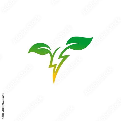 Green energy logo design vector illustration