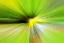 Abstract Green And Yellow Background Zoom Effect. Digital Image. Rays Of Green, Yellow, Black Light. Colored Radial Blur, Fast Zoom, Solar Or Star Flares. Use For Banner Background