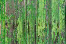 Abstract Horizontal Background Of Old Wooden Door With Peeling Green Paint