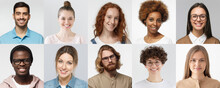 Collage Of Portraits And Faces Of Multiracial Group Of Various Smiling Young People, Good Use For Userpic And Profile Picture. Diversity Concept
