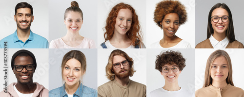 Collage of portraits and faces of multiracial group of various smiling young people, good use for userpic and profile picture. Diversity concept - fototapety na wymiar