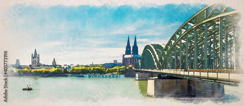 Fotografie, Obraz Watercolor drawing of Panorama of Cologne city historical centre with Cologne Ca