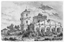 Saint-Michel Mission Church Stone Ruins Overgrown With Weeds Outdoor In The Nature, Paraguay. Ancient Grey Tone Etching Style Art By Lancelot And Lavieille, Le Tour Du Monde, 1861
