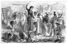 Crowdy Black Slaves Sale Treated As Objects Place In Rio De Janeiro. Ancient Grey Tone Etching Style Art By Riou, Le Tour Du Monde, 1861