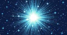 光輝く集中線、たくさんのキラキラした星と星雲のような青いグラデーション、中央がまぶしく光る、超新星爆発のイメージ