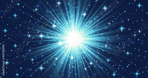 Obraz 光輝く集中線、たくさんのキラキラした星と星雲のような青いグラデーション、中央がまぶしく光る、超新星爆発のイメージ - fototapety do salonu