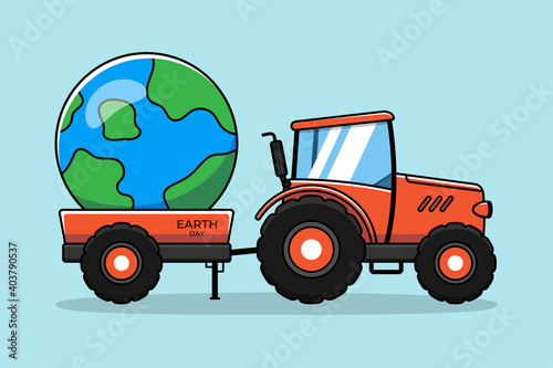 Fototapeta Orange tractor with planet earth obraz