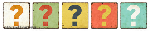 Fotografia Five vintage tin signs on a white background - Question mark