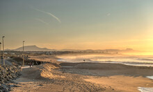 Sunset Over Biarritz Beach, HDR Image