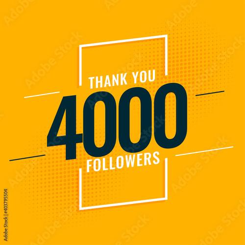 4000 social media followers and subscribers template design Fototapet