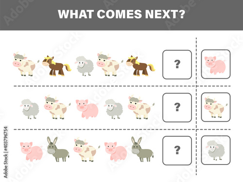 What comes next with cute farm animals-cow, pig, horse, sheep, and donkey. Cartoon vector illustration. Logical worksheet for kids.