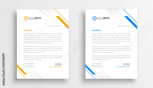 Fototapeta simple business letterhead design set of two