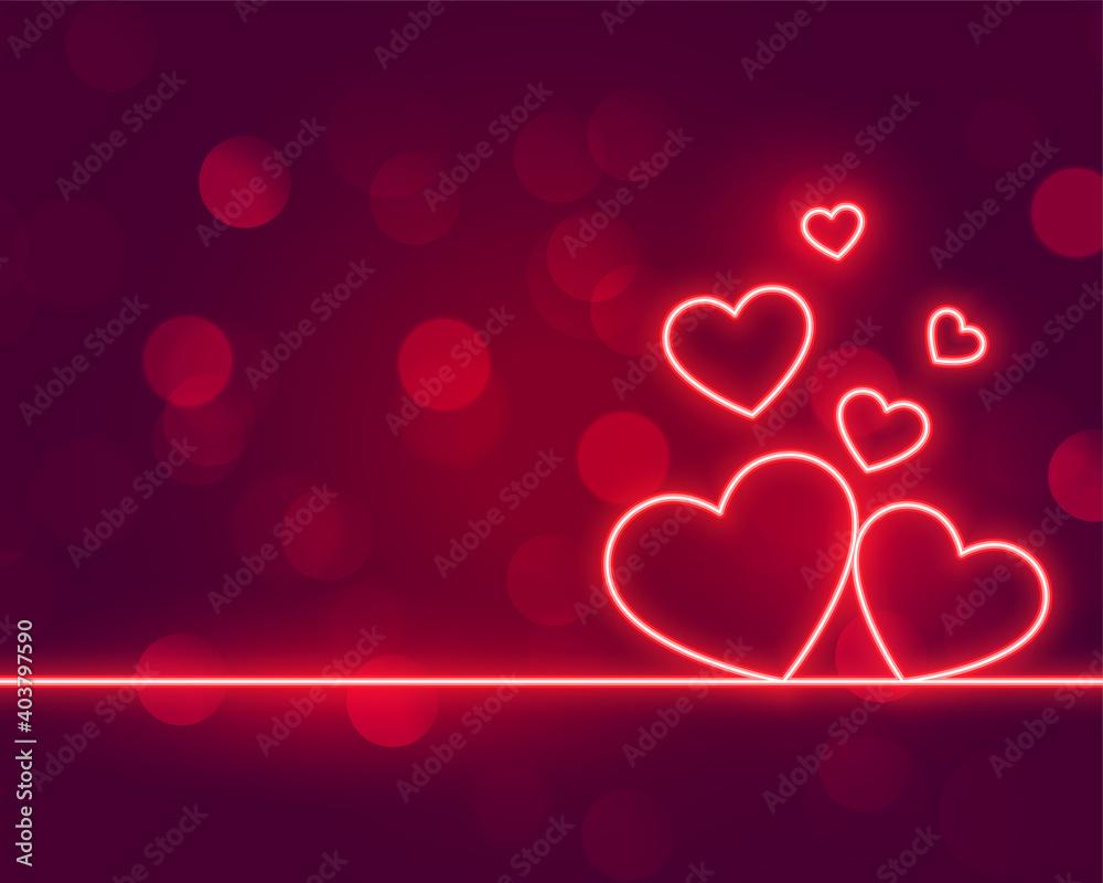 Obraz neon hearts love valentines day background design fototapeta, plakat