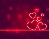neon hearts love valentines day background design