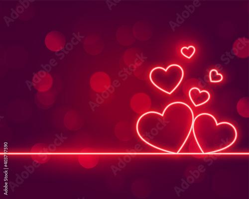 Fototapeta neon hearts love valentines day background design obraz