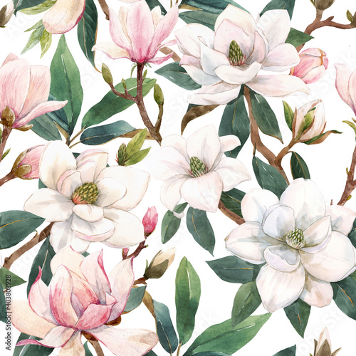 Valokuva Beautiful seamless pattern with hand drawn watercolor gentle white and pink magnolia flowers