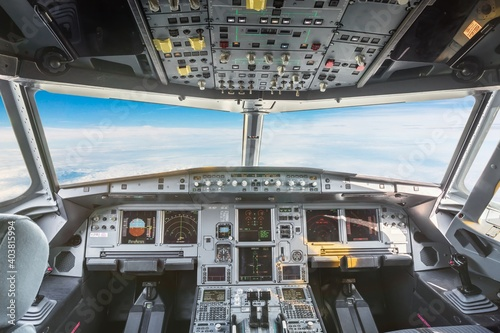 Airplane cockpit inside of civil aircraft