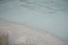White Travertine Terrace Formations And Pools In Pamukkale, Turkey, Closeup