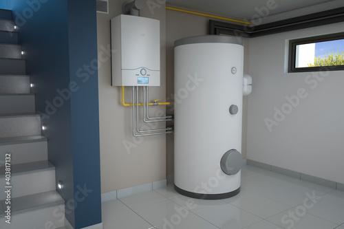 Obraz Boiler room - gas heating system, 3d illustration - fototapety do salonu