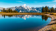 Beautiful alpine summer view with reflections in a lake at the famous Hartkaiser summit, Ellmau, Wilder Kaiser, Tyrol, Austria