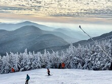 Beautiful Mountains View With Clouds At Snow Day At The Stowe Mountain Ski Resort Vermont - December 2020