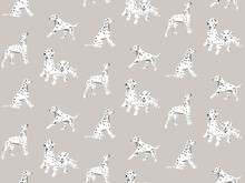 Dalmatian Cartoon Hand-drawn Seamless Pattern, Spotted White Black Dogs Seamless Background. Puppy Print