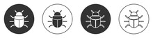 Black System Bug Concept Icon Isolated On White Background. Code Bug Concept. Bug In The System. Bug Searching. Circle Button. Vector.
