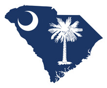 Flag And Silhouette Of The State Of South Carolina