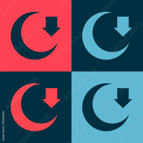 Leinwand Poster Pop art Moon icon isolated on color background. Vector.