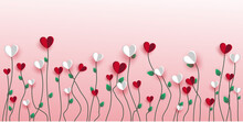 Background With Tulips. Valentines Day Card With Hearts On The Pink Sky.